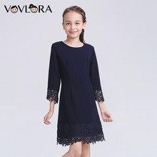 98d977feccb Vovlora Школьное платье для девочек синий цвет круглый вырез кружевной узор  на рукавах и воротнике длинный рукав школьная одежда.