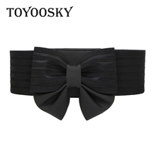 2019 New Arrival Fashion Women Belt Elastic Wide Black Bow PU Leather for Luxury Designer Brand High Quality TOYOOSKY