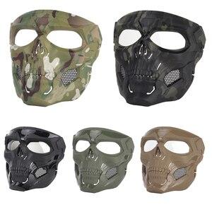 Image 5 - Тактическая Маска с черепом для пейнтбола на все лицо защитный Быстрый Шлем для военных страйкбола маски CS чехол для лица