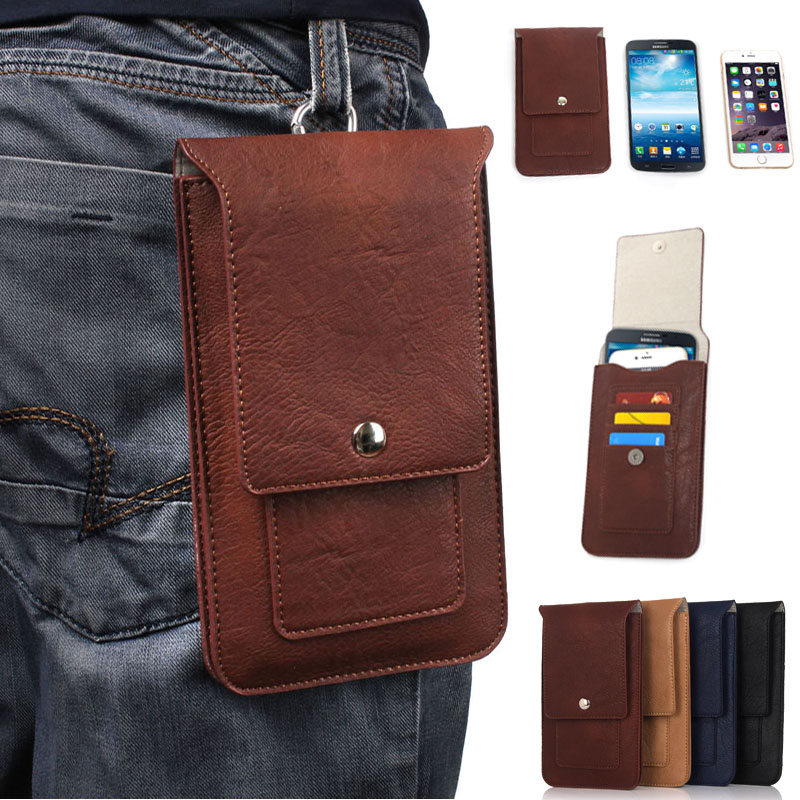 Outdoor Pockets Leather Pouch Belt Waist Phone Case Cover Bag For samsung galaxy s8/s8 plus/s7/s6/note5 Hook Holster 6.3 Below