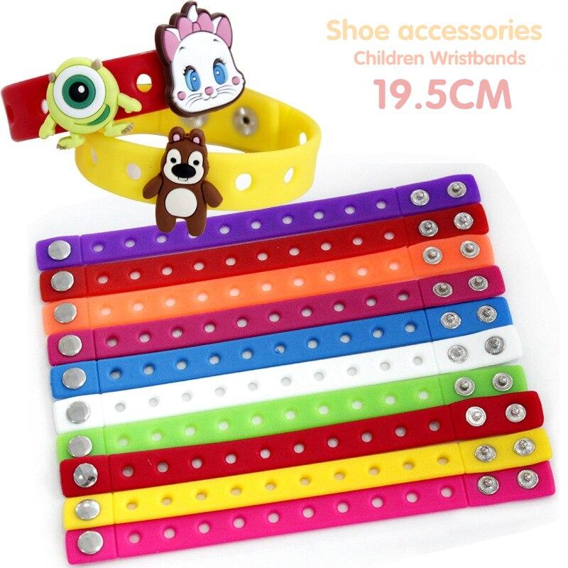 1PCS Random Color Silicone Bracelet Wristbands 19 5CM With Shoe Croc Buckle PVC Shoe Accessories Shoes