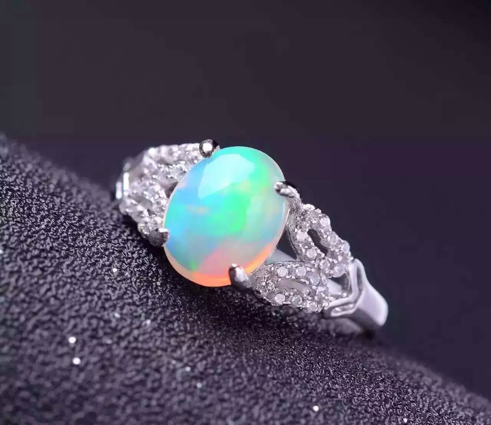 Natural opal gem stone Ring Natural gemstone ring 925 sterling silver trendy Elegant round Hollow women's girl gift Jewelry цена 2017