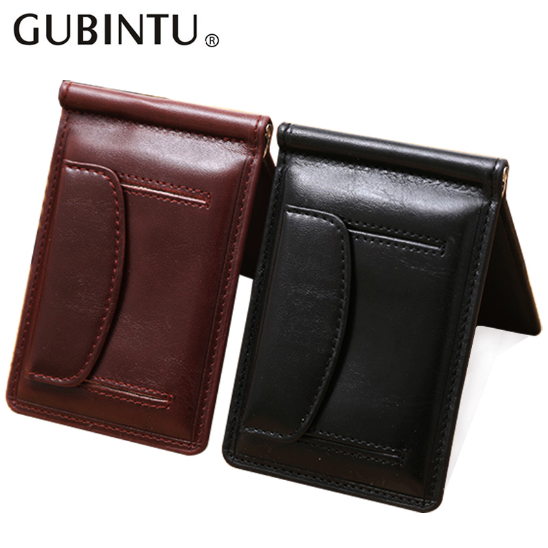 New Fashion GUBINTU small Men's money clip wallet with coin pocket money bag magnet hasp mini leather purse for man