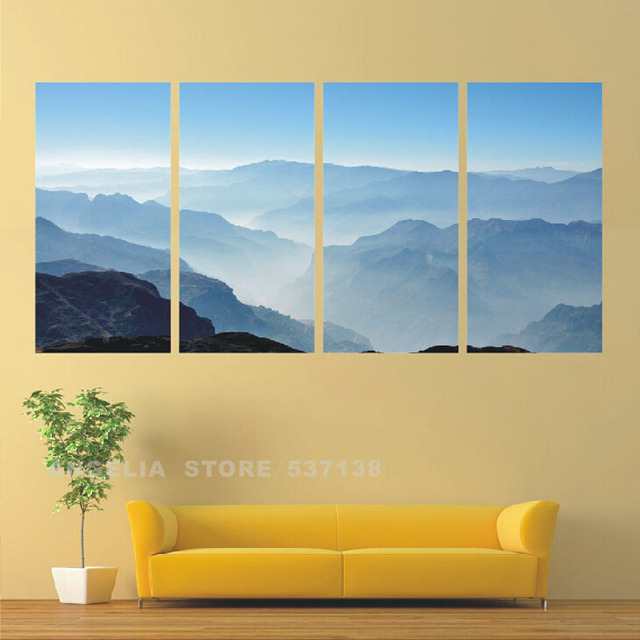 4 Pics Landscape Visual Large HD With Abstract Canvas Print Painting ...
