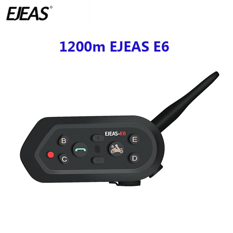 E6 1200m sistema de comunicação da motocicleta vox, bluetooth, interfone, fone de ouvido para capacete de moto