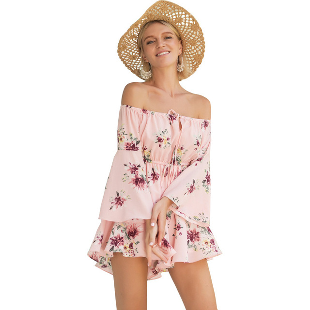 73806a10d4b Feja Floral Print Chiffon Playsuit Women 2018 Summer Sexy Off Shoulder  Sleeveless Boho Rompers Jumpsuit Beach Party Overalls