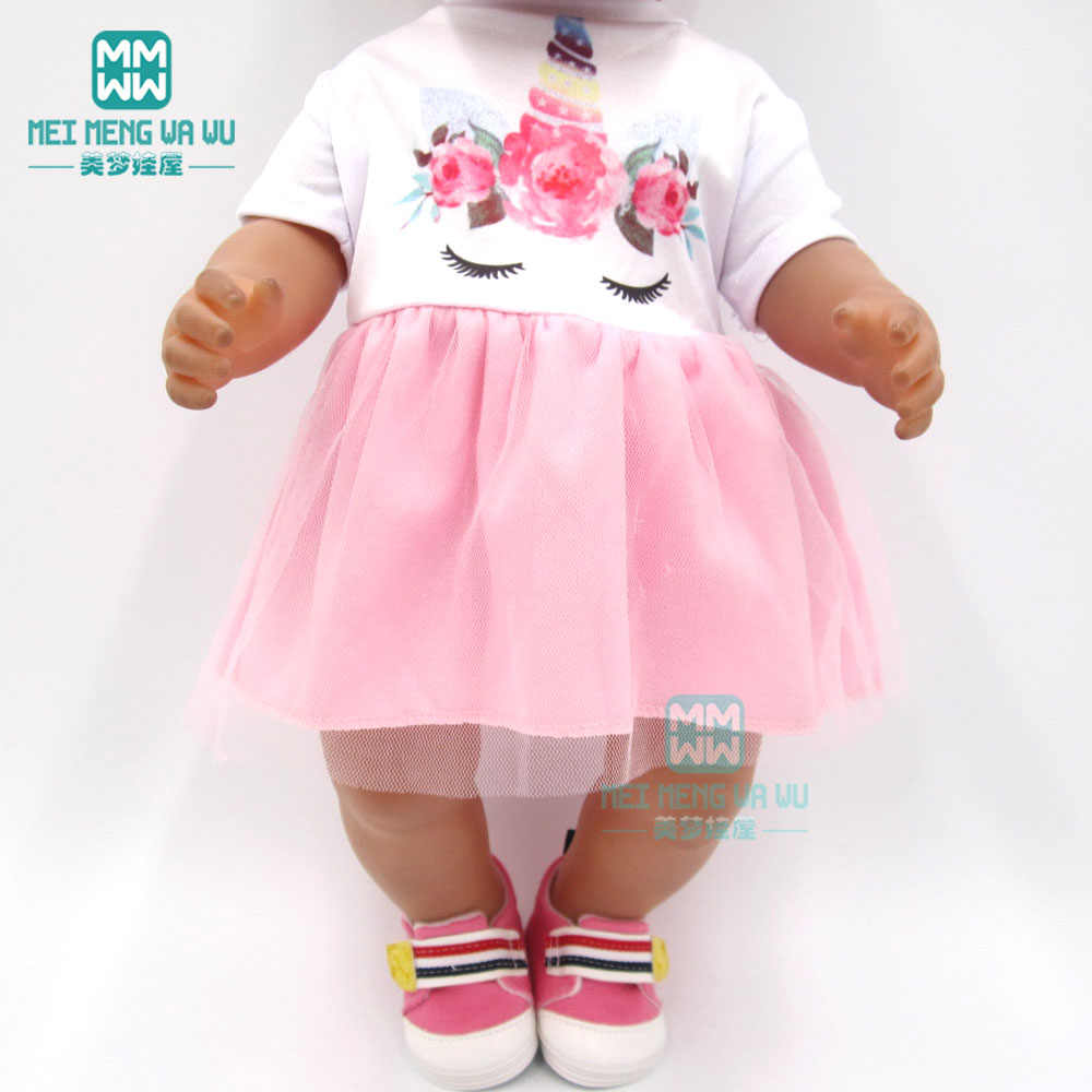 Doll clothes for 43 cm baby new born doll and american doll fashion Unicorn baby dress