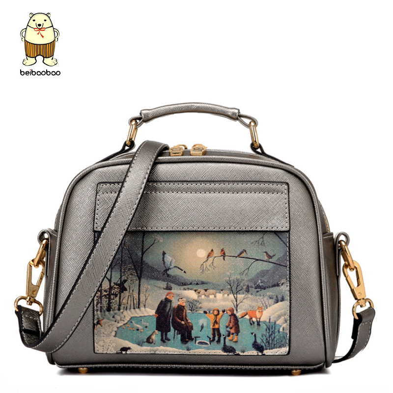 Beibaobao women tote leather handbag famous brands printing women messenger bags women's bag bolsos high quality purse LS8235mf high quality authentic famous polo golf double clothing bag men travel golf shoes bag custom handbag large capacity45 26 34 cm