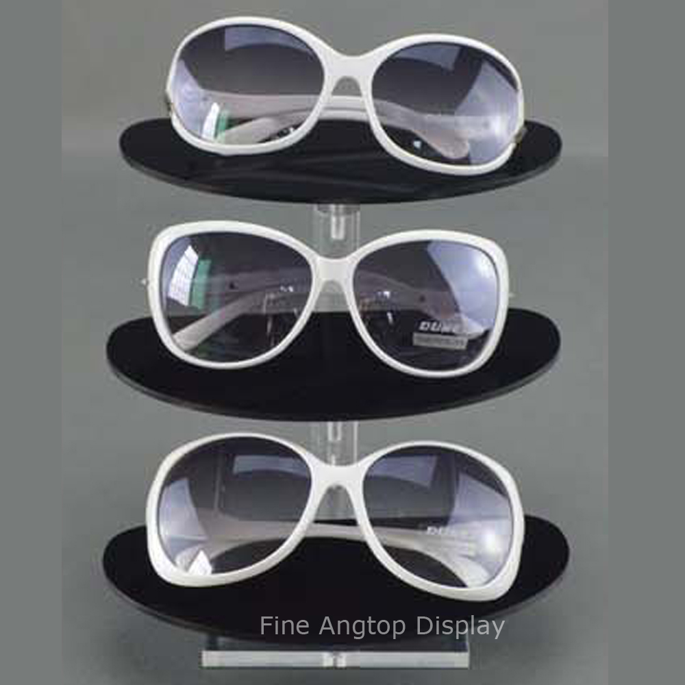 3 Layer Clear and Black Acrylic Display Sunglasses Glasses Eyewear Retail Show Stand Holder Rack