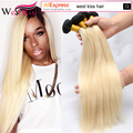 West Kiss Free Shipping 8A Ombre Brazilian Virgin Hair Straight 1B/613 Blonde ali pearl Hair 3Bundles Straight  Ombre Human Hair