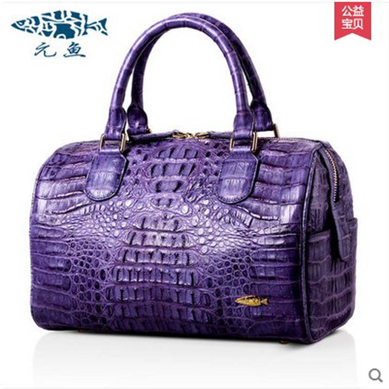 yuanyu The new import crocodile women handbag american fashion leather bag Boston men bag big female Alligator Skin bag yuanyu the new crocodile skin female bag imported crocodile leather single shoulder bag genuine handbag alligator women handbag