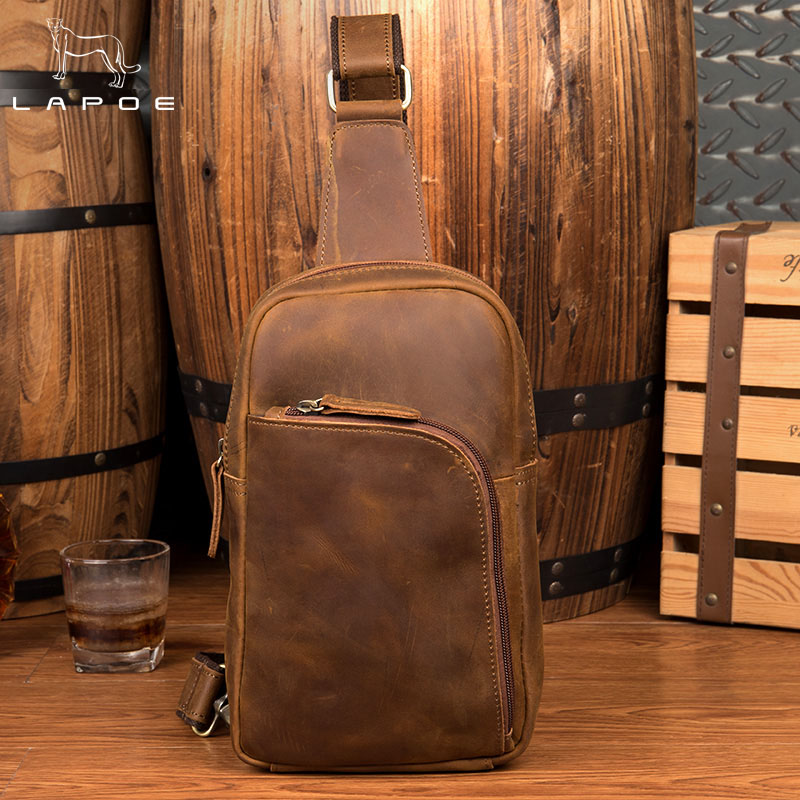 2018 New Design Man Genuine Leather Messenger Bag Brown Travel Chest Bag Small Crossbody Bag Casual Shoulder Bag For Men Women