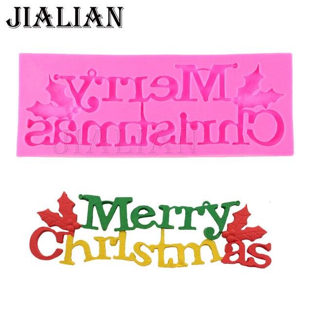 Feliz Navidad Ingles Carta Forma Molde De Silicona Chocolate Fondant