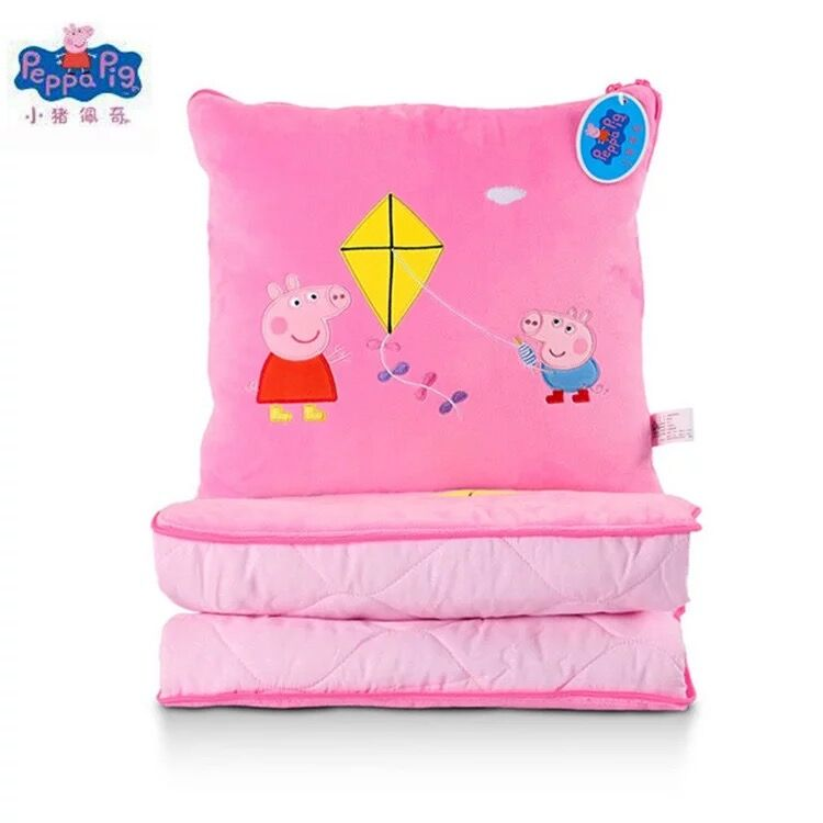 Genuine Peppa Pig 120*150cm 2-in-1 Plush Hold Pillow Cushion 150cm Quilt Home Decoration Plush Toy Boy Girl Birthday Gift