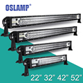 "Oslamp 22"" 32"" 42"" 52"" Straight LED Bar for Car SUV Triple Row CREE Chips Led Light Bar Pickup Off-Road Driving Work Light Combo"