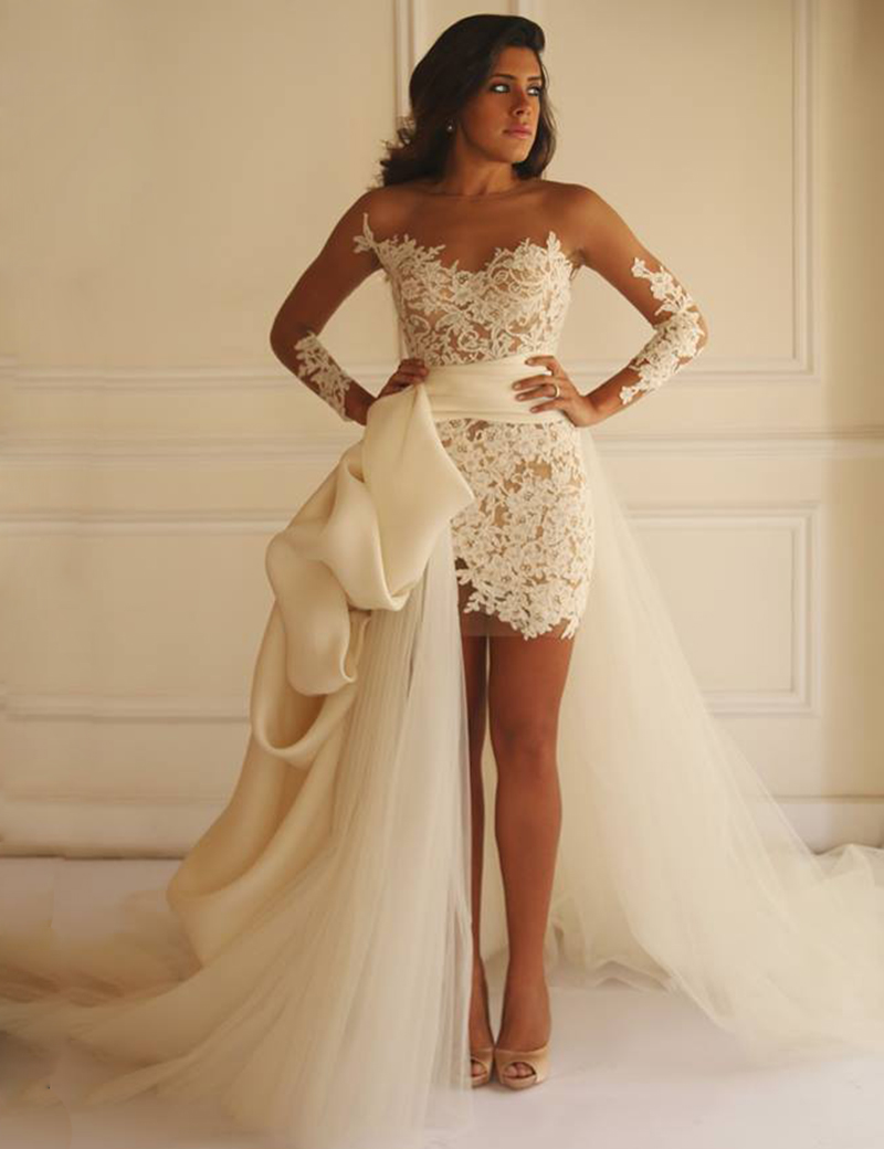 short sheath wedding dress 2017 long sleeves lace wedding dress detachable train wedding dress bridal gowns