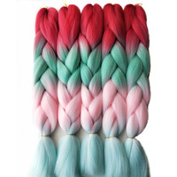 Pervado Hair Synthetic Jumbo Braids Hair Extensions 2410Pcs Pink Blonde Ombre Kanekalon Hair Bulk for Crochet Braids Hairstyle