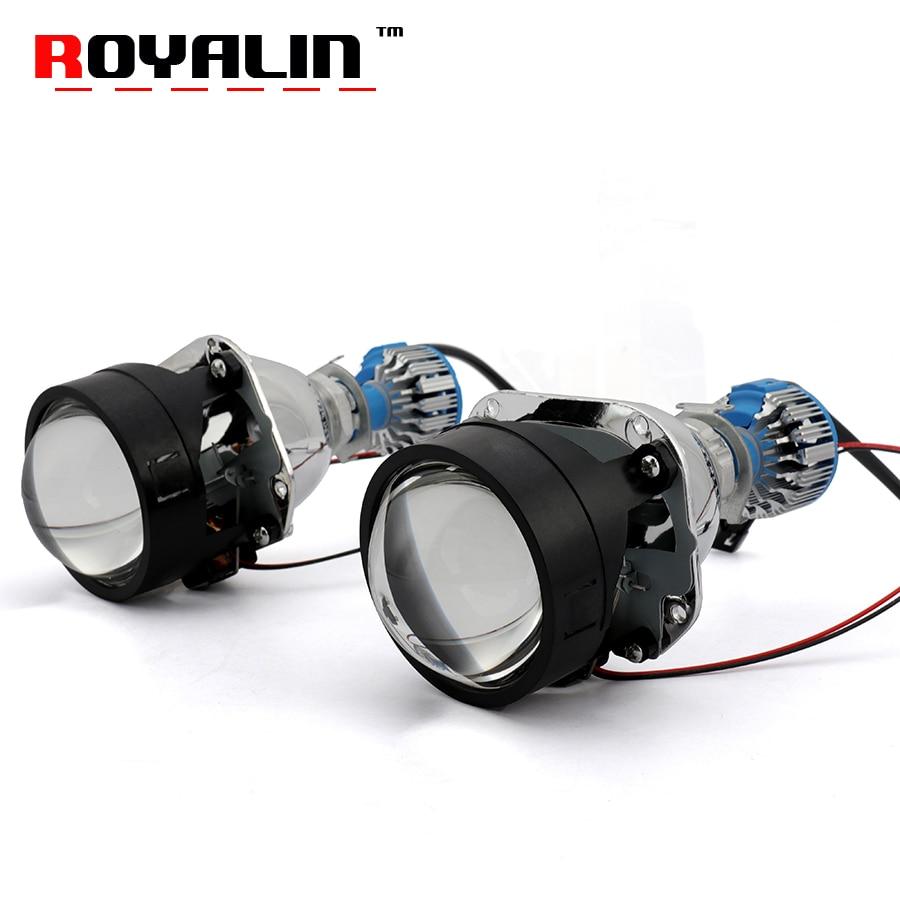 ROYALIN Bi LED Mini Projector Headlamp Lens H1 2.5'' Car Styling H1 H4 H7 Auto Head Lights Retrofit With LED White Bulb 6000K kinklight 08210 01 3000 6000k
