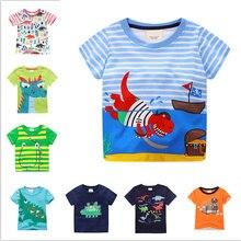 PJ-J 6 шт./Партия Детские футболки для мальчиков и девочек футболки с короткими рукавами из хлопка для детей от 12 месяцев до 6 лет