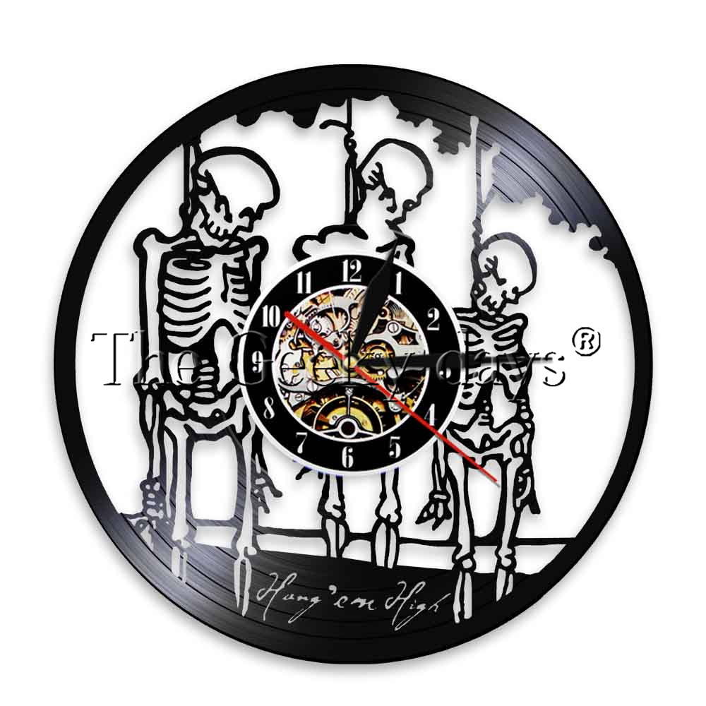 1Piece Scary Halloween Hanging Ghoul LED Wal Clock Decor Quotes Vinyl Record Clock Groom Skeleton Grim Reapers Night Light