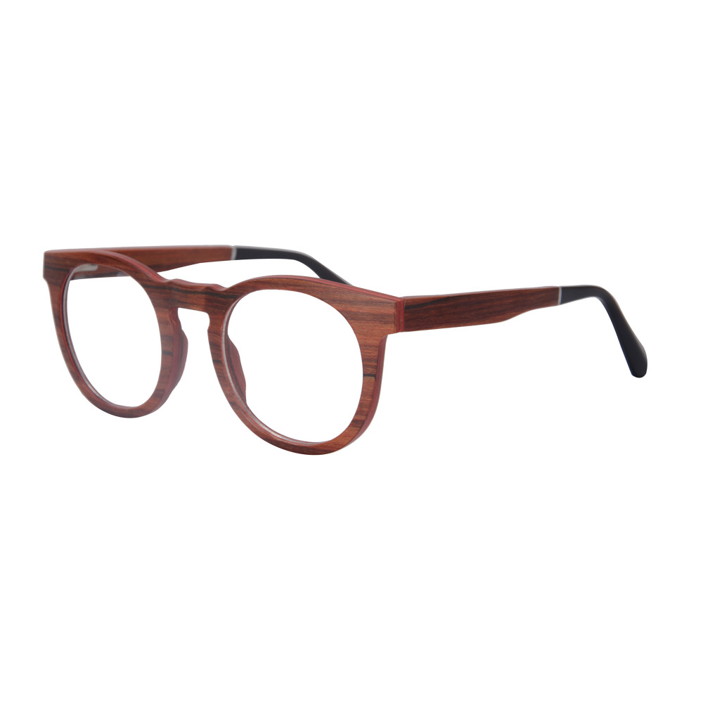 SHINU High Quality Round Vintage Wood Glasses Frame Myopia ...