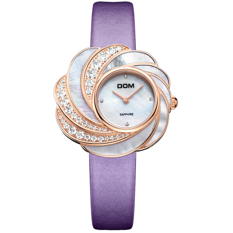 DOM2016 Luxury Women Quartz Waterproof Watch Montre Femme De Marque Fashion Casual Elojes Luxury Leather Rose