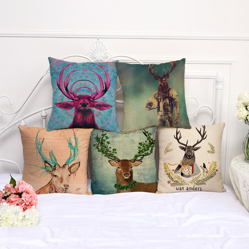 Hot Sale Fashion Wild Animal Elk Pattern Cotton Cushion Cover Sofa Home Or Car Decorative Pillow Throw Cojines