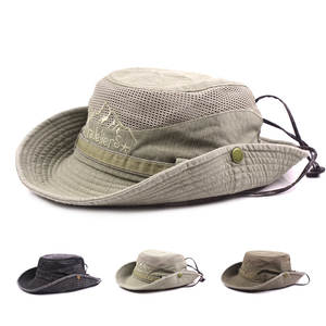 UV Protection Cap Men Summer Outdoor Fishing Wide Brim Adjustable Size Mesh  Breathable fed59331828b