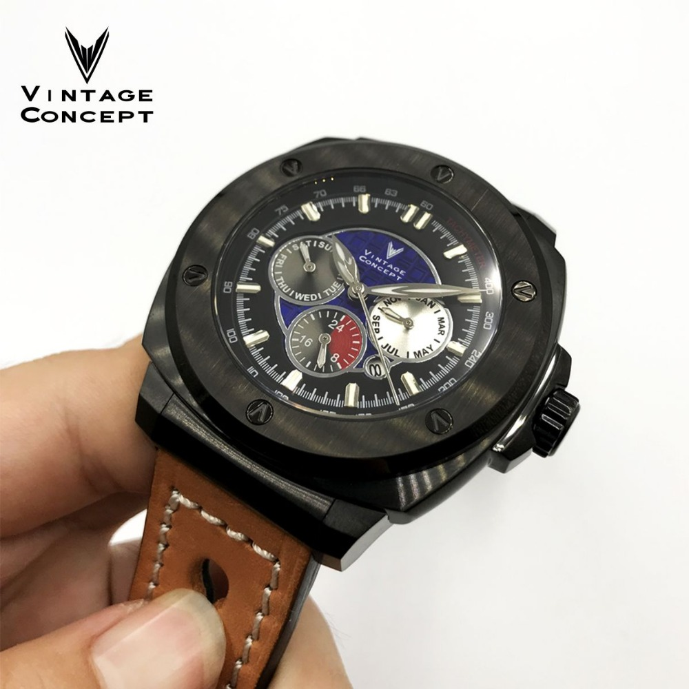 Vintage Concept Fashion Automatic self wind Mechanical Watch 100MWater Resitance Sapphire Glass Stainless Steel Men Wristwatches