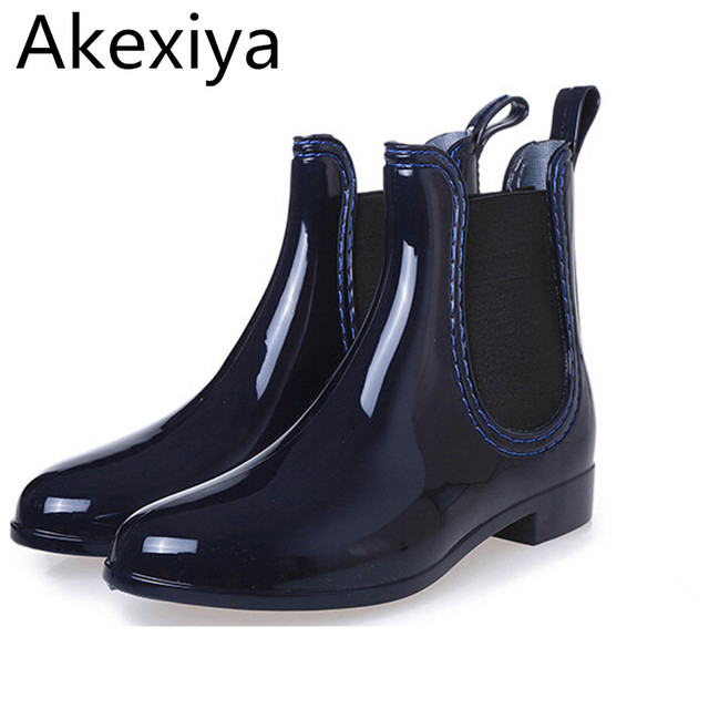 8c0aa0c6689 Akexiya Rain Boots 2017 Waterproof Fashion Jelly Women Ankle Rubber Boot  Elastic Band Solid Color Rainday Women Shoes