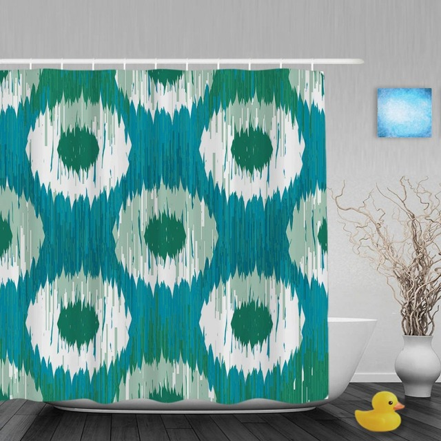 Abstract Indigo Dot Pattern Bathroom Shower Curtain Vintage Home Decor Curtains Waterproof Polyester Fabric With