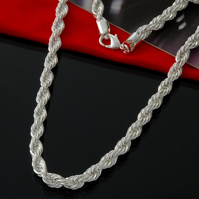 rope cuban s or chains men chain twisted style en silver women necklace thin necklaces