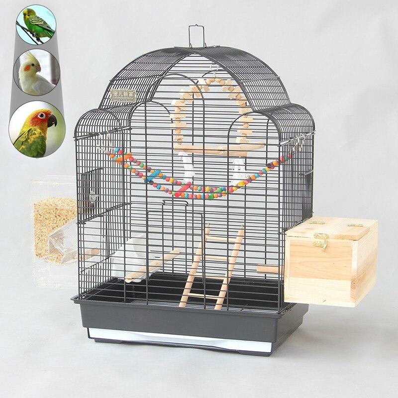 Grande cage à oiseaux en métal noir de luxe perroquet Villa starling cage Portable grande cage d'élevage d'oiseaux élevée mx4081550