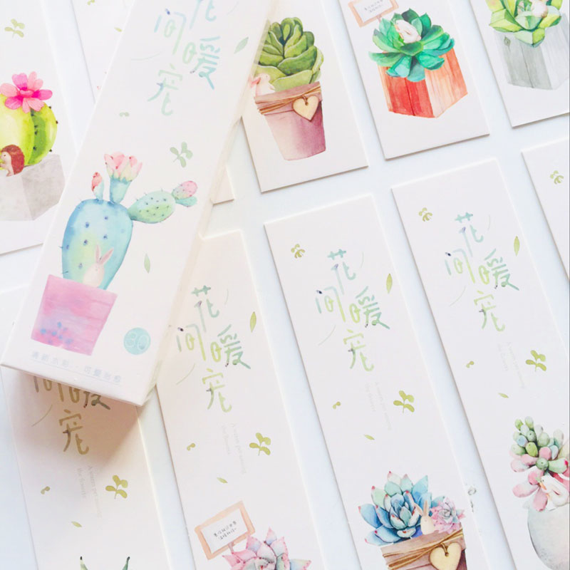 30 Sheets Warm Cactus Plants & Animals Card Bookmark DIY Craft Tag Cards School Office Supply Student Stationery