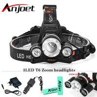 Anjoet 10000 Lumens Headlight XM-L T6 LED Head Light 4 Modes Zoom Adjust Focus Headlamp Lantern Hunting Head Flashlight Sets