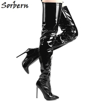 Sorbern Black Shiny Thigh High Boots For Women Shoes Custom Color 12Cm Sexy Fetish High Heels 2018 Women Boots Big Size 36 46