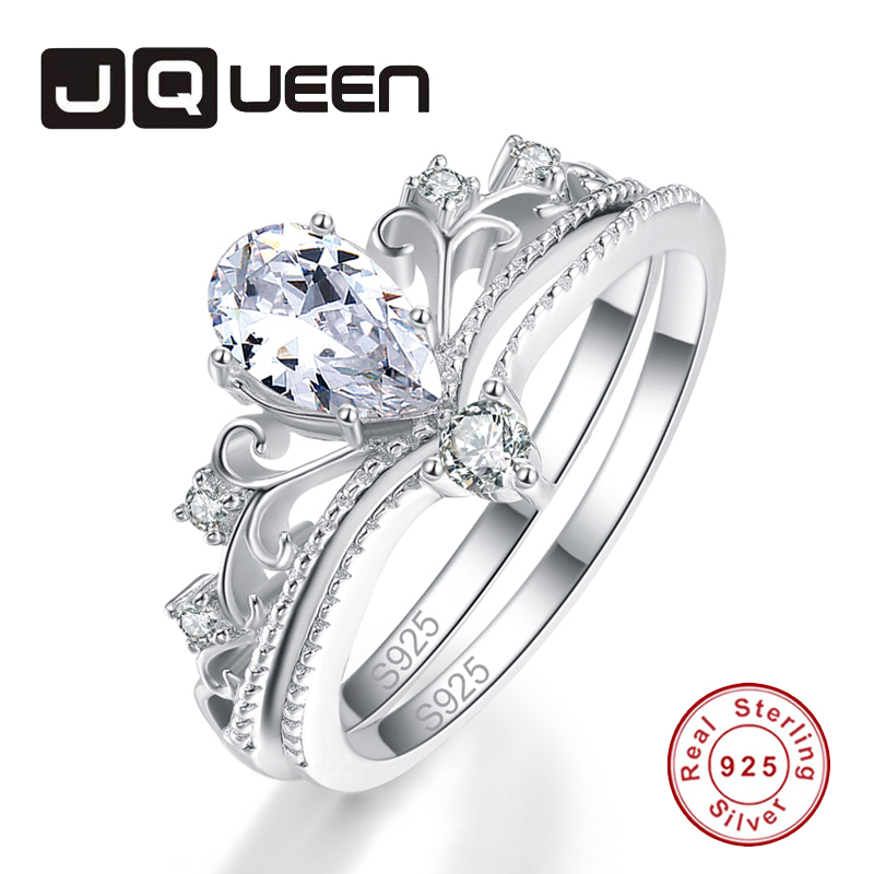 JQUEEN 2PCS Water Drop Clear Crystal Crown Ring Set 100% S925 Sterling Silver Ring Classic Fine Jewelry Women Party Gift
