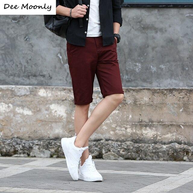 4bad27189c38 DEE MOONLY 2017 Summer Fashion Mens Shorts Casual Cotton Slim Bermuda  Masculina Beach Shorts Joggers Trousers Knee Length Shorts