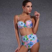 2018 Summer Floral Bikini Halter Swimsuit Retro Swimwear High Waist Bikini Set Beachwear Brazilian Sexy Bandage Biquinis