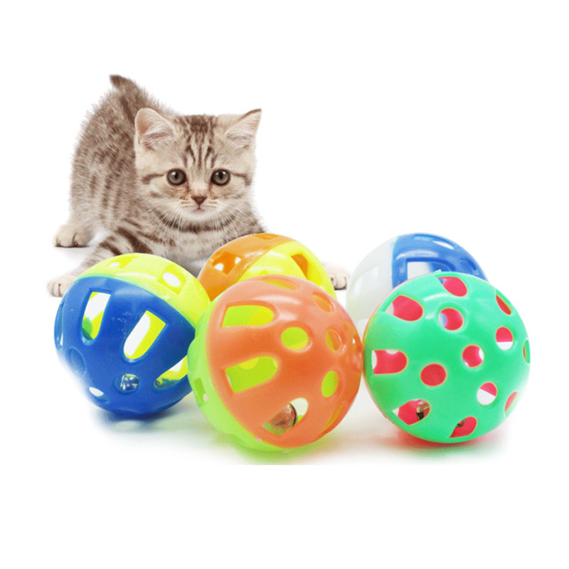 1pc Cats Toys Hollow Bell Funny Plastic Interactive Ball Tinkle Puppy Playing Products Dia 3 Cm Pets Favorite Accessories