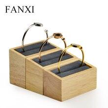 FANXI New Solid wood 3 pcs/set  Bangle Display Sand Props Beige &Dark gray with microfiber internal Showcase Jewelry Organizer