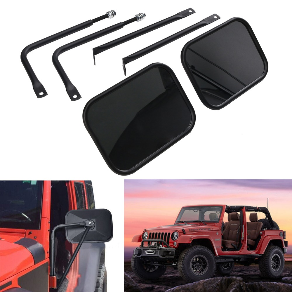 Door Hinge Mirror for Jeep Wrangler JK Sport X Sahara Unlimited Rubicon Bolt-on Quick Release Mirror Pair Rectangular #CEK094 pair lantsun j269 locking hood hold down for jeep wrangler jk jku unlimited rubicon sahara x sport 1997 2017