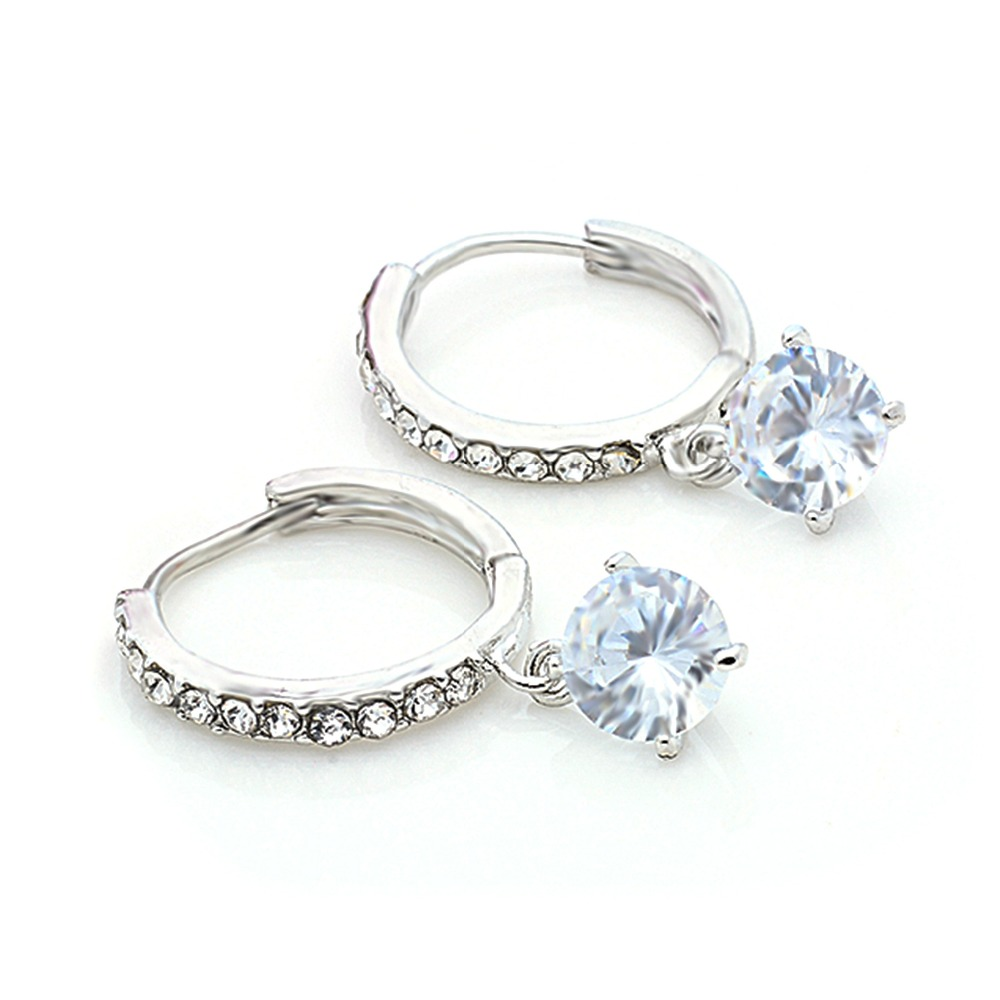 SHUANGR Fashion Crystal Wedding Jewelry Earrings for Women Cubic Zirconia Hoop Earrings New Year Gifts Brincos Aneis