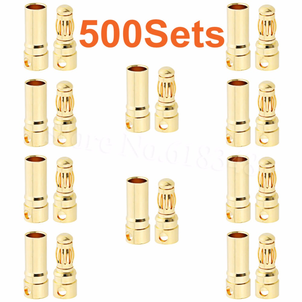 Wholesale 500Sets <font><b>3.5mm</b></font> Gold <font><b>Bullet</b></font> Banana Connectors Female Male RC Models ESC Battery Pack Device Electric Motor Cable Wire image