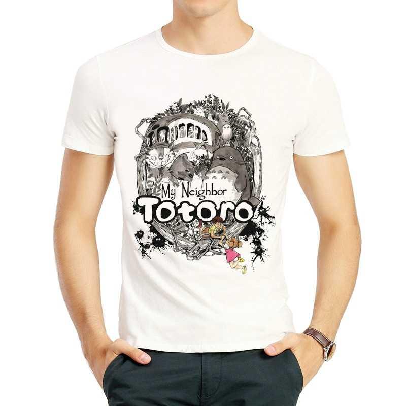 Totoro T Shirt Dos Homens Da Forma Cor Branca Bonito Dos Desenhos Animados Hayao Miyazaki Totoro Camiseta T Tops camiseta Unisex T-shirt