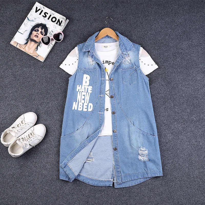Rlyaeiz Frühling Sommer Mid-lange Denim frauen Weste 2019 Mode Brief Gedruckt Loch Ärmellose Jeans Jacken Weste 8XL 9XL