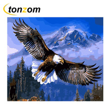 RIHE Eagle Flying Diy Painting By Numbers Abstract Animal Oil On Cuadros Decoracion Acrylic Drawing Mountain Wall Art