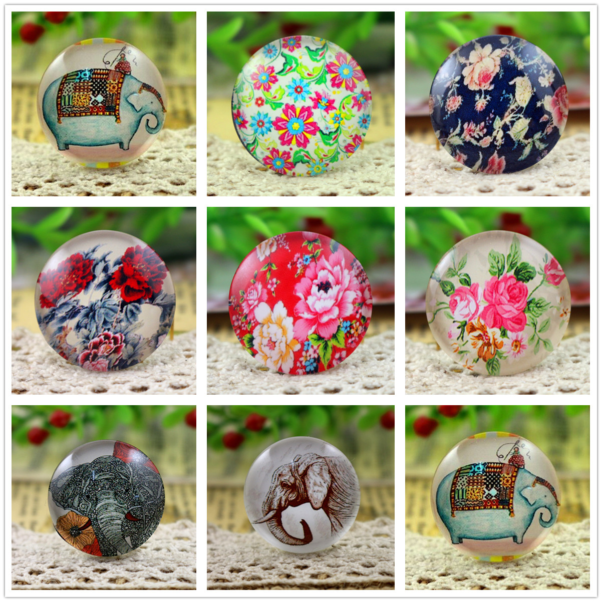 Hot Sale 5pcs/Lot 25mm Handmade Photo Glass Cabochons (Elephant And Flower Series)