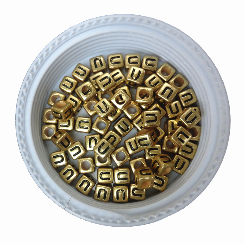 Free Shipping Cube Gold Acrylic Letter Beads Single English Character U Printing Big Hole Square Alphabet Jewelry Spacer Beads Dependable Performance Jewelry & Accessories
