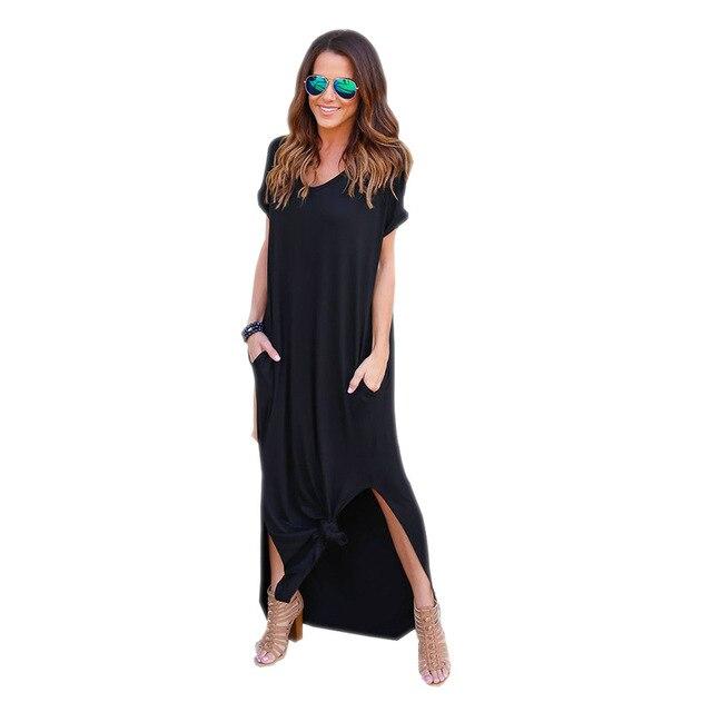 Long Dress For Women BOHO Beach Dresses Split Short Sleeve Roupa Vestidos 2018 Summer Bohemian Style Casual Dress Elegant L9223Z